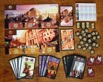 Spielzubehör von 7 Wonders Cities.