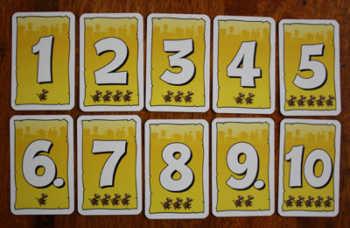 Handkarten des gelben Spielers.