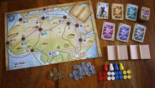 Das Spielzubehör zum Brettspiel Africana.