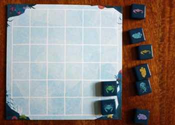 Spielzug des Tierartensammlers - der Spieler verschiebt blau nach unten und legt grün darüber.