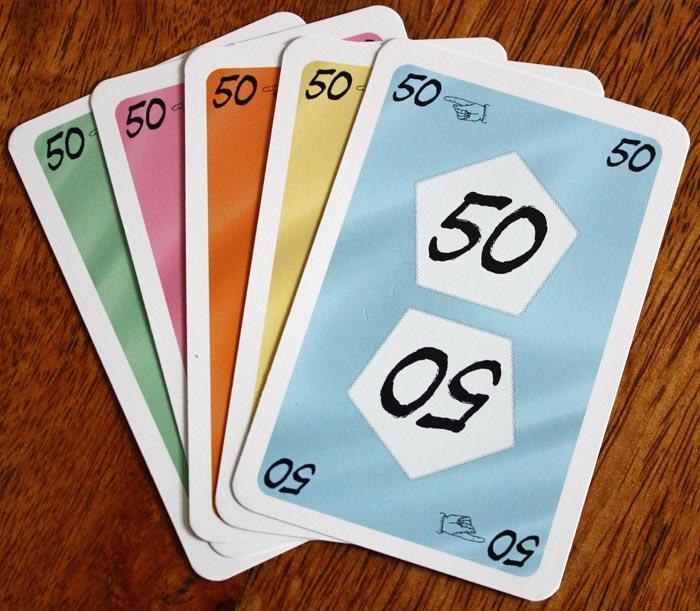 Richtig viele Strafpunkte  gibt es durch die 50er-Karte.