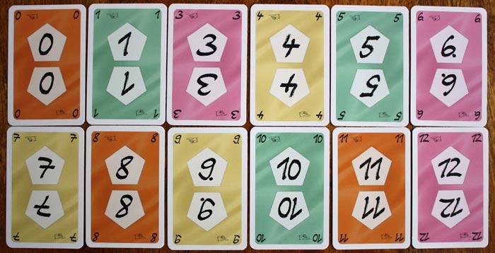 Die Zahlenkarten aus Auruxxx® - die Nr.2 fehlt hier, da sie eine Aktionskarte ist.