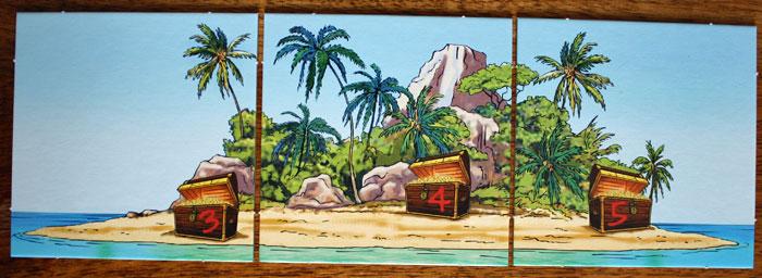 Die drei Inselplättchen zeigen den Schatz.