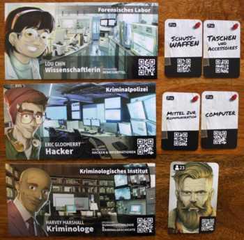 Drei der vier forensischen Kontakte im Spiel. Der Arzt ist nicht im Bild.