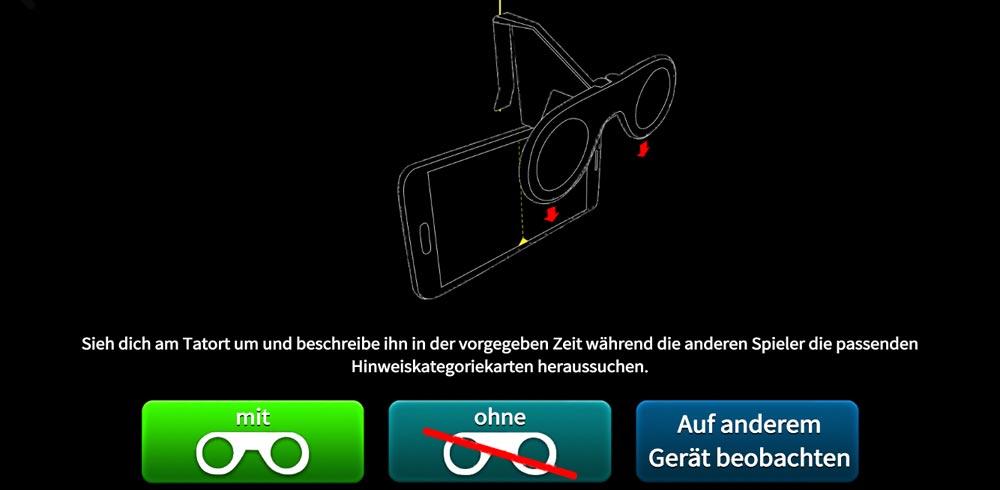 Screenshot aus der App vor Betreten des Tatorts.