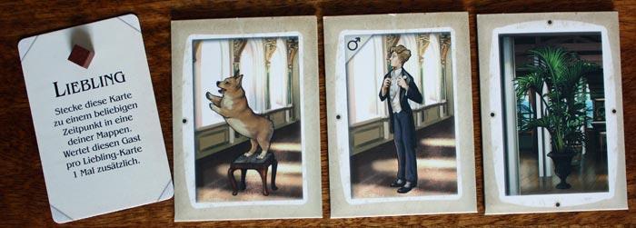 Im Spiel zu viert erhält jeder Spieler zu Beginn 3 Mappen sowie seinen Punktemarker und eine Lieblingskarte.