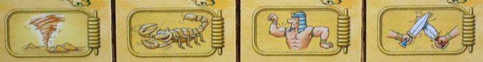 Die vier Sonderaktionen des Spiels.