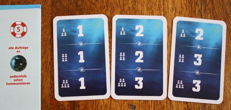 MIssionsauswahl bei 3 Spielern: 1+2+2=5
