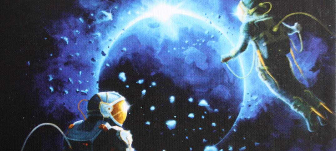 Die Crew reist gemeinsam zum 9. Planeten Kartenspiel von Kosmos.