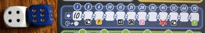 Der blaue Aktionsbereich mit seinen 12 Feldern.