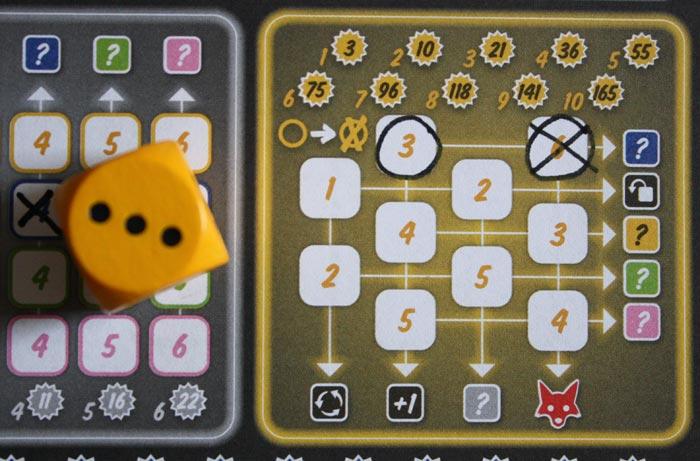 Im gelben Aktionsfeld werden Zahlen umkreist und dann angekreuzt.