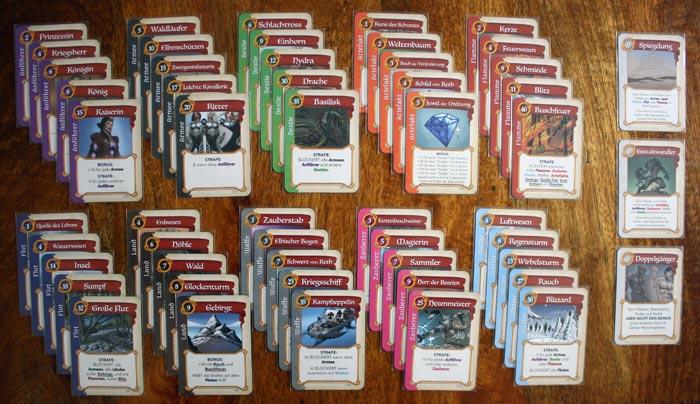 Die unterschiedlichen Spielkarten von Fantastische Reiche.