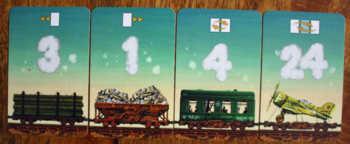 Vier Aktionsmöglichkeiten in Game of Trains.