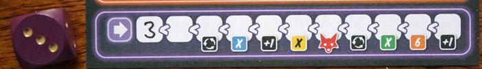 Der lilane Aktionsbereich und seine 11 Felder.
