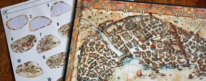 Der Stadtplan von Gloomhaven.