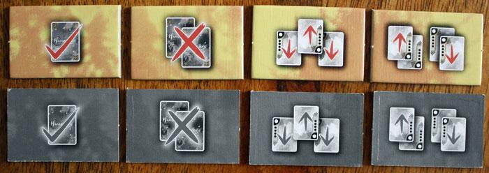 Die vier Aktionen im Kartenspiel Hanamikoji.