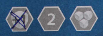 Die drei Bonusfelder in Hex Roller.