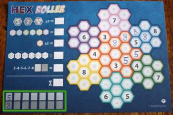 Der Hex Roller Spielblock.