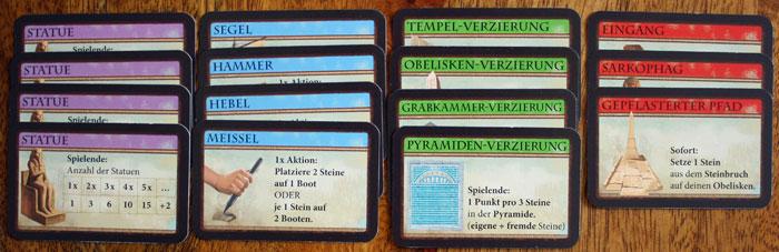 Die Marktkarten des Brettspiels Imhotep.