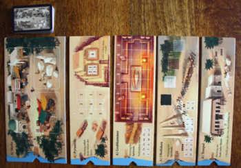 Die 5 Orte im Brettspiel Imhotep.