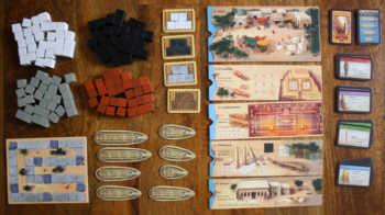 Spielzubehör des Brettspiels Imhotep.