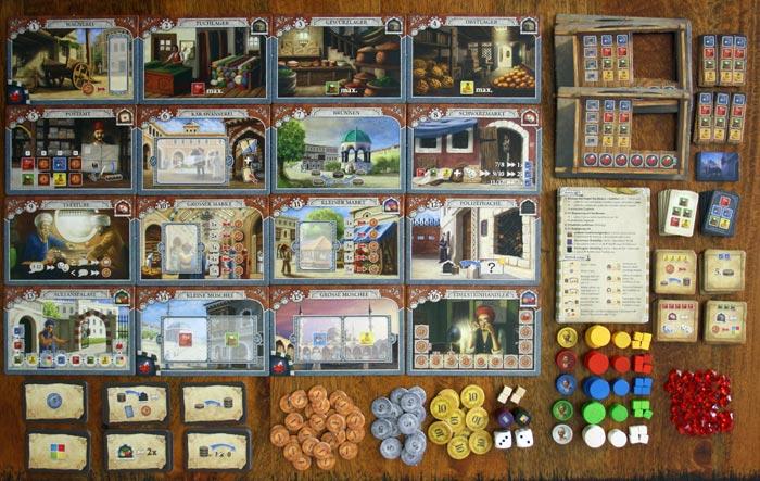 Das umfangreiche Spielzubehör von Istanbul.
