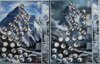 K2 Spielplan für Einsteiger (links) und Fortgeschrittene (rechts).