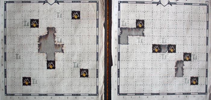Links: Spielvariante des Grundspiels | Rechts: H+C Variante der Erweiterung.