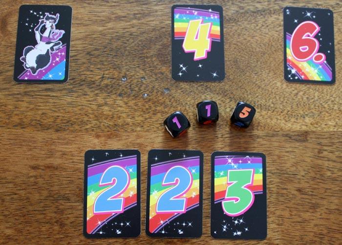 Verzockt! Der Spieler muss alle Karten aufnehmen. Die Runde endet.