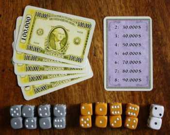 Ablegekarten, Geldkarten und Würfel.