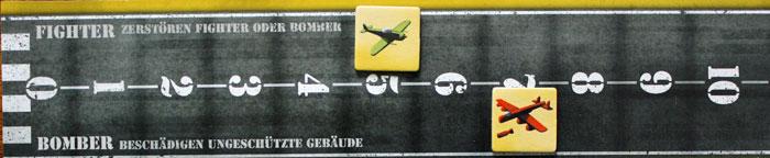 Die Fighter- und Bomberleiste eines Spielers.