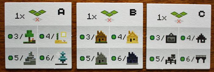 Die drei Wertungskarten in Minecraft.