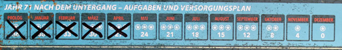 Der Jahreskalender. Der Prolog und die ersten 4 Monate wurden bereits gespielt.