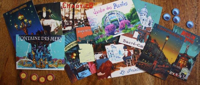 Die schönen Postkarten aus dem Spiel Paris von Kosmos.