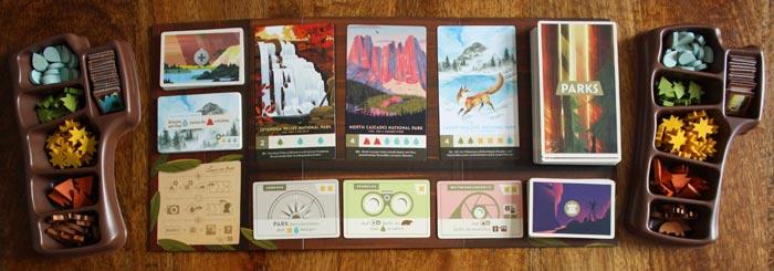 Der Spielplan, Karten und die Marker von Parks.