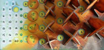 Das Spielrtableau zeigt die verfügbaren Bäume und ihre Preise.