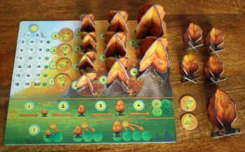 Spielertableau und Startausrüstung eines Spielers.