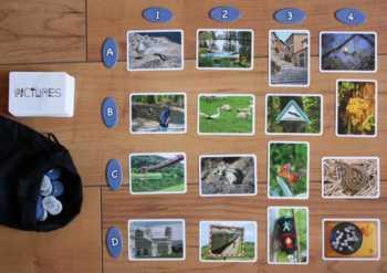 Spielaufbau von Pictures. Das 4x4 Felder-Raster.