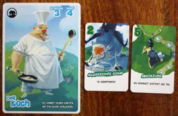 Die Rollenkarte, eine Egoistenkarte und eine Vergabekarte.
