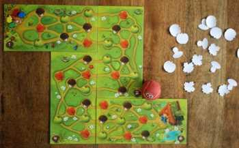 Spielaufbau mit 4 Spielern.