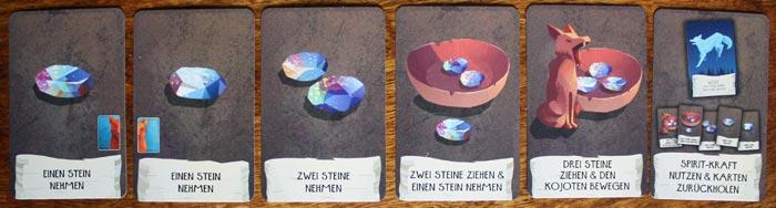 Die einzelnen Aktionskarten eines Spielers.
