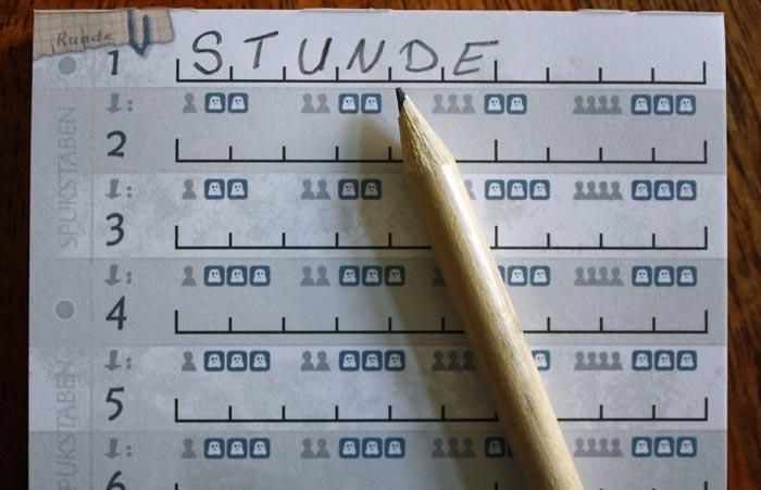 2. Jeder Spieler überlegt sich ein Wort, das möglichst viele Spukstaben enthält.