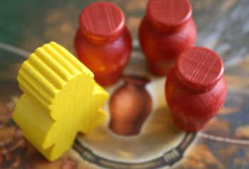 Spieler gelb darf sich einen Krug nehmen.
