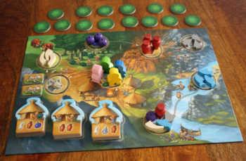 Der Spielaufbau von Stone Age Junior.