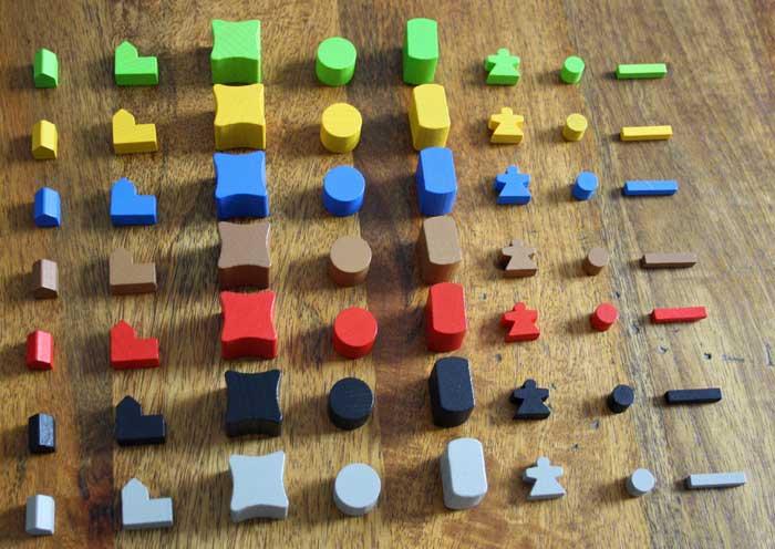 Gebäude und Spielfiguren in Terry Mystica.