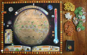 Spielaufbau für vier Spieler.