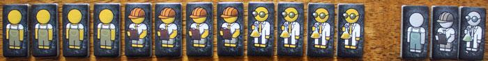 Arbeiter, Ingenieure, Wissenschaftler und freie Hilfskräfte (in grau) helfen beim Bau der Bombe.