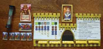 Das Spielzubehör des gelben Spielers.