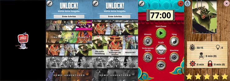 Auszüge aus der Unlock! App (Stand 03/2021).