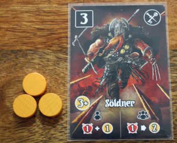 Der Spieler wirbt für 3 Geld den Söldner an.